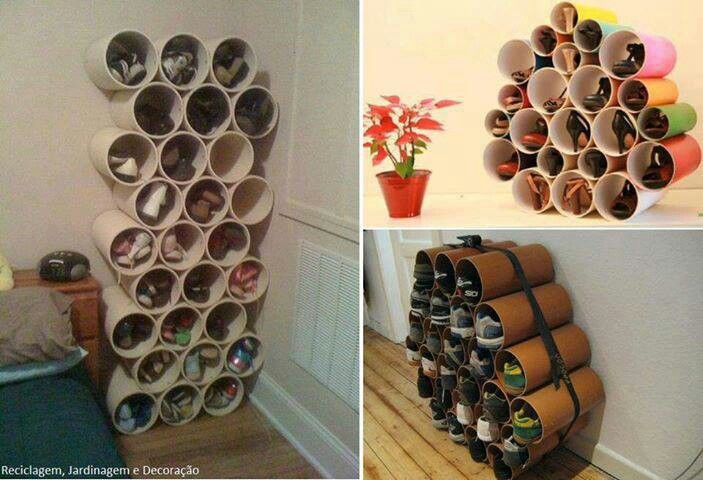 shoe rack from boxes